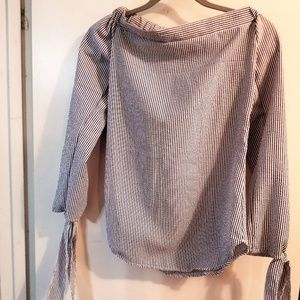 Blue and White Pinstripe Off Shoulder Shirt S/M